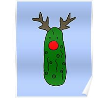 Funny Cool Christmas Pickle Reindeer Poster