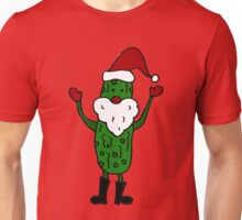 Funny Cute Pickle Santa Claus Christmas Art Unisex T-Shirt