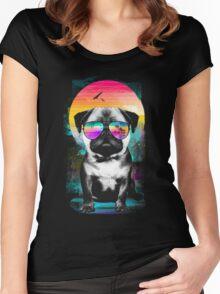 Summer Pug Women's Fitted Scoop T-Shirt