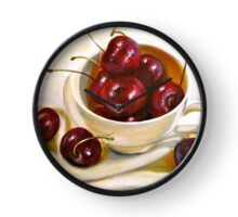 Still Life in Red and White...Cherries.. Clock
