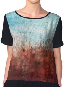 Blue and Red Abstract Prairie Abstract Chiffon Top