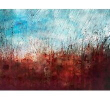 Blue and Red Abstract Prairie Abstract Photographic Print