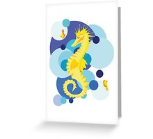 a sea horse with two fishes Greeting Card