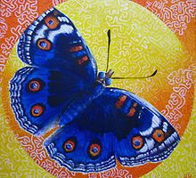 Butterfly Encircled Within a Square Painting by Heather Holland by Heatherian