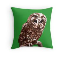 Tawny Owl Illustration Throw Pillow
