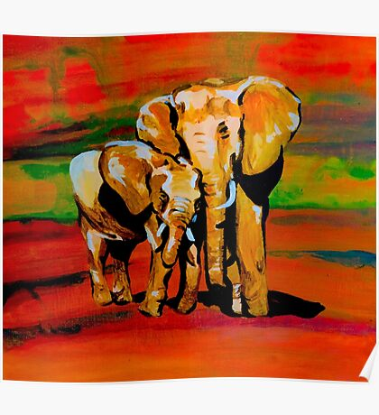 Bright mother and baby elephant Poster
