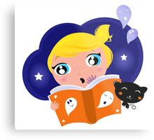 Cute Girl is reading Halloween Story Book Metal Print