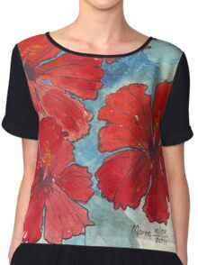 Red & Blue Hibiscus Chiffon Top