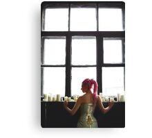 Young woman with dreadlocks wearing corset Canvas Print