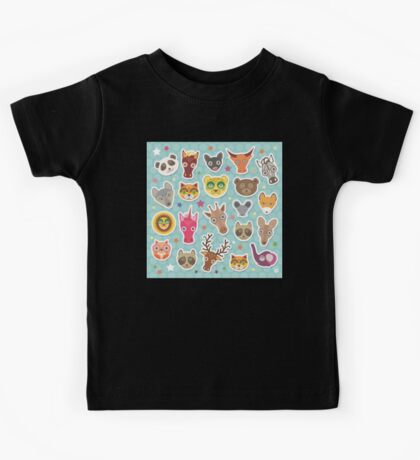 Set of animals on blue polka dot background Kids Tee