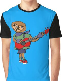 Funny Cool Sloth is Playing the Guitar Graphic T-Shirt
