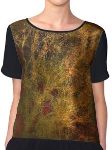 Gold and Red Tree Branch Abstract Chiffon Top