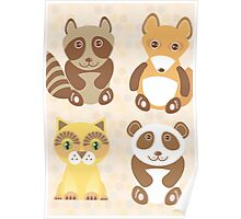 Raccoon, panda, fox, cat on dot background Poster