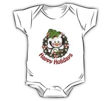 Adorable Christmas Penguin Wreath One Piece - Short Sleeve