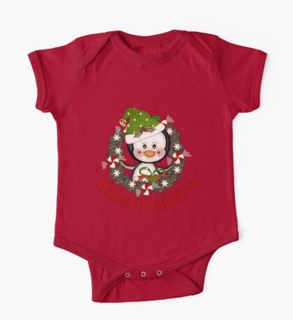 Adorable Christmas Penguin Wreath One Piece - Short Sleeve