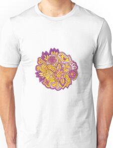 Purple and yellow flower pattern Unisex T-Shirt