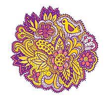 Purple and yellow flower pattern Photographic Print