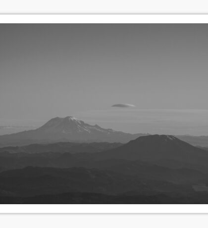 Mt. Rainier & Mt. St. Helens - black & white Sticker