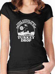 First Annual WKRP Thanksgiving Day - Turkey Drop  Women's Fitted Scoop T-Shirt