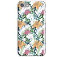 European texture hand painted. Seamless ethnic floral pattern of lilies flowers and curly leaves. iPhone Case/Skin