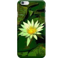 Green and White Water Lily Flower iPhone Case/Skin
