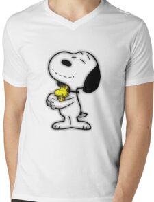Snoopy feliz Mens V-Neck T-Shirt