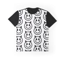 The Internet Generation Collection - Evil Smiling Devil Emoji - Black and White Pattern Graphic T-Shirt