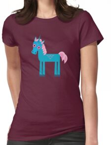 Cute unicorns on blue Womens Fitted T-Shirt