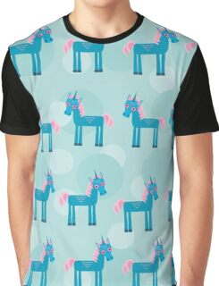 Cute unicorns on blue Graphic T-Shirt