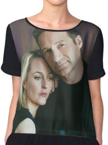 Gillian Anderson and David Duchovny oil color painting  Chiffon Top