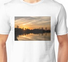 Painted By Airplanes - Reflecting On Contrails Streaked Sunrise Sky At The Lake Unisex T-Shirt
