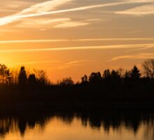 Painted By Airplanes - Reflecting On Contrails Streaked Sunrise Sky At The Lake Sticker