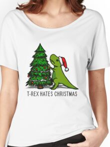 T-Rex Hates Christmas Women's Relaxed Fit T-Shirt