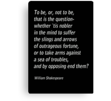 William Shakespeare`s `Hamlet`  Canvas Print