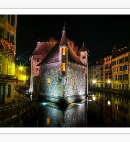 Annecy - Palais de l'Isle at night Sticker