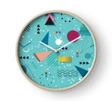 80s Memphis Pattern Teal Clock
