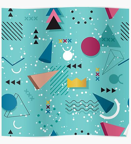80s Memphis Pattern Teal Poster