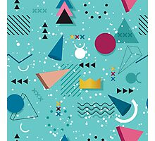 80s Memphis Pattern Teal Photographic Print