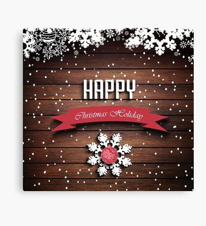 Wooden Christmas Holiday Winter Background Canvas Print