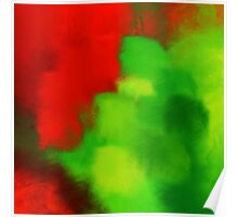 Misty red and green, abstract Poster