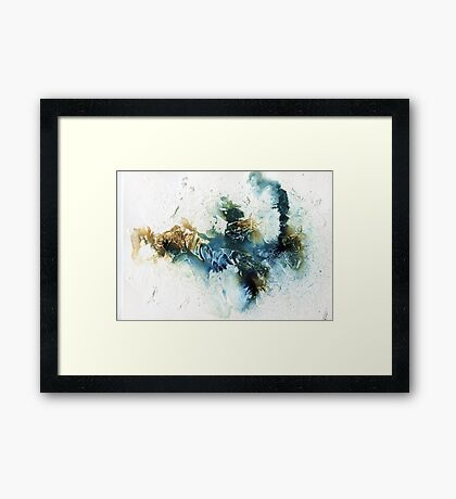 Blue and brown abstract  Framed Print