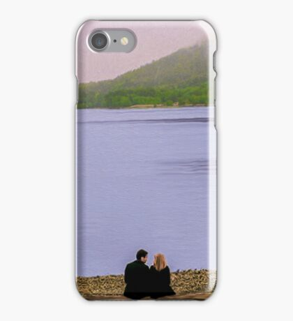 Conversation on the log - oil color painting iPhone Case/Skin