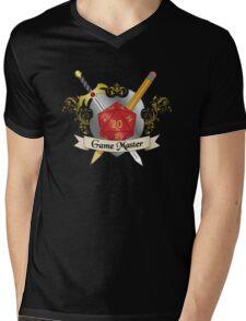 Game Master Red d20 Crest Mens V-Neck T-Shirt