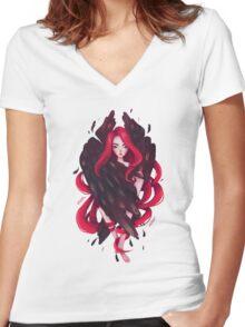 Black Wings Women's Fitted V-Neck T-Shirt
