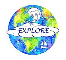 Explore - Watercolor Earth Photographic Print