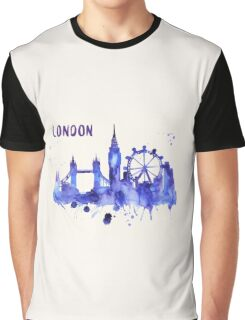 London Skyline Watercolor Cityscape Painting Graphic T-Shirt