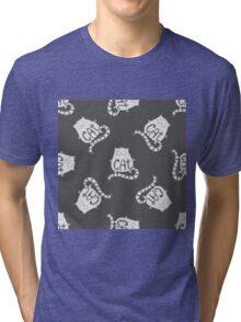 Cute fat cat seamless pattern, funny hand drawn  Tri-blend T-Shirt