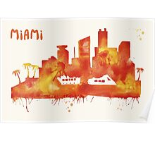 Miami Skyline Watercolor Cityscape Painting Poster