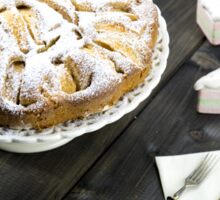 Traditional italian apple pie on a wooden table Sticker