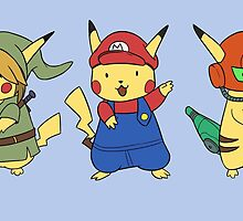 Nintendo Pikachus by Kyndrii